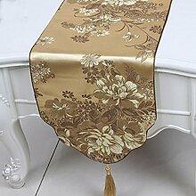 Wddwarmhome Licht Gelb Tischläufer Mode Einfach Tisch Tisch Tisch Wohnzimmer Couchtisch Stoff Bett Flagge (nur Verkauf Tischläufer) 33 * 180cm