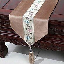Wddwarmhome Licht Tan Einfache moderne Tischläufer Wohnzimmer Tischdecke Couchtisch Tuch Tisch Matte Bett Flagge (nur Verkauf Tischläufer) 33 * 200cm