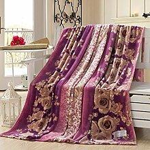 Wddwarmhome Lila Decke Schlafzimmer Decke Klimaanlage Decke Frühling und Herbst Blumenmuster weich und komfortabel Wolldecke ( größe : 200*230cm )