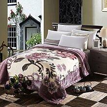 Wddwarmhome Lila Doppel Warme Decke Schlafzimmer Bettdecke Decke Wohnzimmer Casual Decke Studentenschlafzimmer Decke Polyester Material Wolldecke ( größe : 180*220cm )