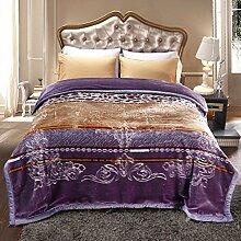 Wddwarmhome Lila Doppelte Warme Decke Blumenmuster Schlafzimmer Bettdecke Decke Wohnzimmer Freizeitdecke Polyester Material Größe: 200 * 230cm Wolldecke