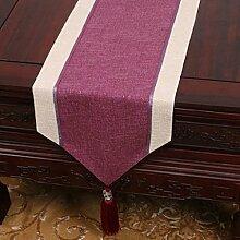 Wddwarmhome Lila Einfache moderne Tischläufer Wohnzimmer Retro Klassische Tischdecke Couchtisch Tuch Tisch Matte Bett Flagge (nur Verkauf Tischläufer) 33 * 180cm