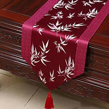 Wddwarmhome Lila Tischläufer Bambus Blatt Muster
