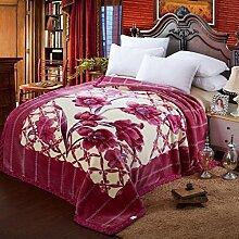 Wddwarmhome Lila Warme Decke Pflanze Blumenmuster Schlafzimmer Bettdecke Decke Wohnzimmer Freizeitdecke Polyester Material Wolldecke