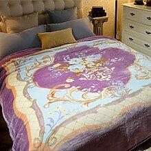 Wddwarmhome Lila warme Decke Pflanze Blumenmuster Schlafzimmer Bettdecke Wohnzimmer Decke Polyester Material Blanket Größe: 200 * 230cm Wolldecke