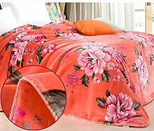 Wddwarmhome Orange doppelte warme Decke rosa Pflanze Blumenmuster Schlafzimmer Bett Decke Polyester Material Größe: 200 * 230cm Wolldecke