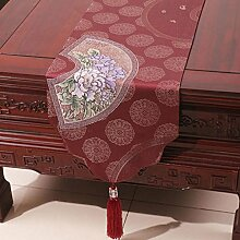Wddwarmhome Purple Red Tischläufer Einfache Mode Tischdecke Couchtisch Stoff Bett Flagge (nur Verkauf Tischläufer) 33 * 180cm