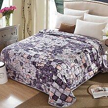 Wddwarmhome Purpurrote karierte warme Decken-Polyester-materielle Bett-Decken-Jahreszeit-Freizeit-Decken Wolldecke ( größe : 200*230 cm )