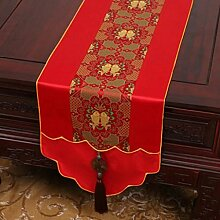 Wddwarmhome Red Table Runner Pastoral Jacquard Tischdecke Couchtisch Tuch Bett Flagge Schrank Flagge Lange Tisch Tischdecke (nur Verkauf Tischläufer) 33 * 180cm