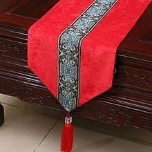 Wddwarmhome Red Tischläufer Einfache moderne Pastoral Tischdecke Wohnzimmer Couchtisch Tuch Tisch Matte Bett Fahne Stoff Material (nur Verkauf Tischläufer) 33 * 180cm