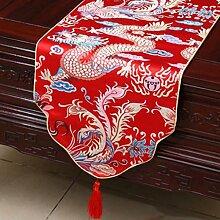 Wddwarmhome Red Tischläufer Klassische Tisch Tischdecke Modern Wohnzimmer Couchtisch Stoff Bett Flagge (nur Verkauf Tischläufer) 33 * 200cm