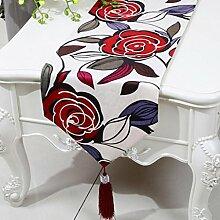 Wddwarmhome Red Tischläufer Mode Einfach Tisch Tisch Tisch Wohnzimmer Couchtisch Stoff Bett Flagge (nur Verkauf Tischläufer) 33 * 230cm
