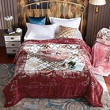 Wddwarmhome Red Warme Decke Gelb Gestreiftes Muster Schlafzimmer Bettdecke Decke Wohnzimmer Freizeitdecke Polyester Material Größe: 200 * 230cm Wolldecke