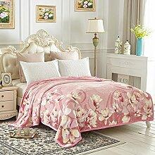 Wddwarmhome Rosa Decke Schlafzimmer Bettdecke Rascheldecken Doppelisolierung weich und bequem Größe: 200 * 230cm Wolldecke