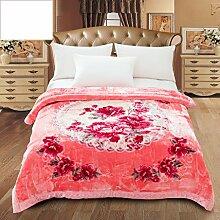 Wddwarmhome Rosa Decke Schlafzimmer Bettdecken Blumenmuster Prägeprozess weich und bequem Größe: 200 * 230cm Wolldecke