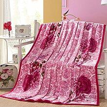 Wddwarmhome Rosa Decke Schlafzimmer Decke Klimaanlage Decke Frühling und Herbst Blumenmuster weich und komfortabel Wolldecke ( größe : 200*230cm )