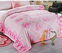 Wddwarmhome Rosa doppelte warme Decke Pflanze Blumen Schlafzimmer Bett Decke Polyester Material Größe: 200 * 230cm Wolldecke