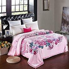Wddwarmhome Rosa Doppelte Warme Decke Pflanze Blumenmuster Schlafzimmer Bettdecke Wohnzimmer Freizeit Blanket Größe: 200 * 230cm Wolldecke