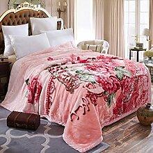 Wddwarmhome Rosa Doppelte Warme Decke Polyester Material Pflanze Blumenmuster Schlafzimmer Bettdecke Vier Jahreszeiten Freizeit Decke Größe: 180 * 220 cm Wolldecke