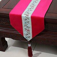 Wddwarmhome Rosa Einfache moderne Tischläufer Wohnzimmer Tischdecke Couchtisch Tuch Tisch Matte Bett Flagge (nur Verkauf Tischläufer) 33 * 200cm