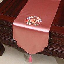 Wddwarmhome Rosa Stickerei Pastoral Tischläufer Seide Satin Tischdecke Couchtisch Stoff Bett Flagge Schrank Flagge Tischplatte Lange Tischdecke (nur Verkauf Tischläufer) 33 * 150cm