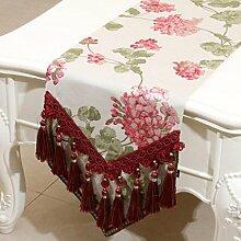 Wddwarmhome Rosa Tischläufer Mode Einfache Tisch Tischdecke Wohnzimmer Couchtisch Tuch (nur Verkauf Tischläufer) 33 * 180cm