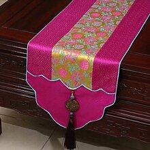 Wddwarmhome Rosa Tischläufer Pastoral Jacquard Tischdecke Couchtisch Stoff Bett Flagge Schrank Flagge Lange Tisch Tischdecke (nur Verkauf Tischläufer) 33 * 230cm