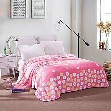 Wddwarmhome Rosa warme Decke Polyester Material Blumenmuster Schlafzimmer Bettdecke Jahreszeiten Freizeit Decken weich und komfortabel Wolldecke ( größe : 150*200cm )