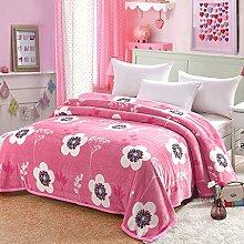 Wddwarmhome Rosa Warme Decke Vier Jahreszeiten Erhältlich Weiß Blumenmuster Schlafzimmer Bettdecke Decke Wohnzimmer Freizeit Decke Polyester Material Wolldecke ( größe : 150*200cm )