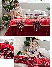 Wddwarmhome Rot Einschichtige Warme Decke Raschel Decke Bettdecke Decke Wohnzimmer Freizeitdecke Polyester Material Wolldecke ( größe : 200*230cm )