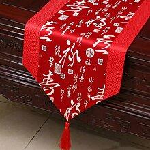 Wddwarmhome Rot Klassische Retro Muster Tischläufer Tischdecke Couchtisch Stoff Bett Flagge Schrank Flagge Tischplatte Lange Tischdecke (nur Verkauf Tischläufer) 33 * 300cm