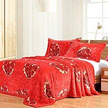 Wddwarmhome Rot warme Decke Pflanze Blumenmuster Wohnzimmer Sofa Decke Schlafzimmer Bettdecke weich und komfortabel Größe: 180 * 200cm Wolldecke