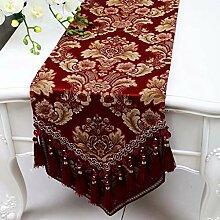 Wddwarmhome Rotwein Tischläufer Mode Einfach Tisch Tisch Tisch Wohnzimmer Couchtisch Tuch (nur Verkauf Tischläufer) 33 * 230cm