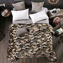 Wddwarmhome Schlafzimmer Warme Decke Polyester Material Persönlichkeit Camouflage Bettdecke Vier Jahreszeiten Freizeit Decken Weich Und Komfortabel Wolldecke ( Farbe : Khaki , größe : 180*200 cm )