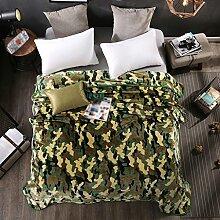 Wddwarmhome Schlafzimmer Warme Decke Polyester Material Persönlichkeit Camouflage Bettdecke Vier Jahreszeiten Freizeit Decken Weich Und Komfortabel Wolldecke ( Farbe : Grün , größe : 150*200 cm )