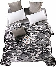 Wddwarmhome Schlafzimmer Warme Decke Polyester Material Persönlichkeit Camouflage Bettdecke Vier Jahreszeiten Freizeit Decken Weich Und Komfortabel Wolldecke ( Farbe : Grau , größe : 200*230 cm )