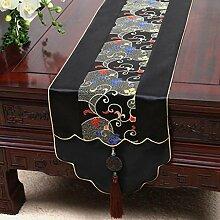 Wddwarmhome Schwarz Tischläufer Jacquard Tisch Tischdecke Wohnzimmer Couchtisch Tuch Tisch Matte (nur Verkauf Tischläufer) 33 * 230cm