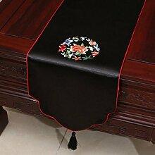 Wddwarmhome Schwarze Stickerei Pastoral Tischläufer Seide Satin Tischdecke Couchtisch Stoff Bett Flagge Schrank Flagge Tischplatte Lange Tischdecke (nur Verkauf Tischläufer) 33 * 150cm