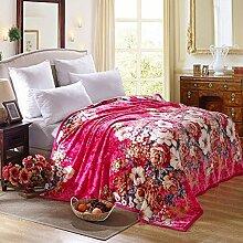 Wddwarmhome Tief Rosa Warme Decke Polyester Material Blumenmuster Wohnzimmer Sofa Decken Vier Jahreszeiten Freizeit Decke Wolldecke ( größe : 180*200 cm )