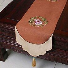 Wddwarmhome Tischläufer Braun Stickerei Stoff Tischdecke (nur Verkauf Tischläufer) 33 * 300cm