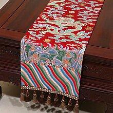 Wddwarmhome Tischläufer flacher Winkel Modernes Wohnzimmer Stickerei Tuch Tisch Tischdecke Couchtisch Tuch (nur Verkauf Tischläufer) 33 * 230cm