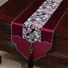 Wddwarmhome Tischläufer Lila Pastoral Tischdecke Couchtisch Stoff Bett Fahne Schrank Flagge Tisch Matte (nur Verkauf Tischläufer) 33 * 200cm