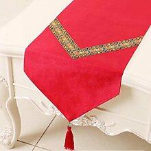 Wddwarmhome Tischläufer Tischdecke Wohnzimmer Couchtisch Tuch Schlafzimmer Bett Fahne Tisch Matte (nur Verkauf Tischläufer) 33 * 150cm