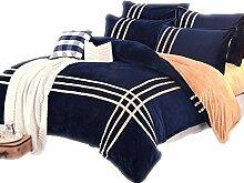 Wddwarmhome Vier Sets von Heimtextilien Bettwäsche Bett Röcke Quilt Polyester Streifen dunkelblau dicken warmen Herbst und Winter