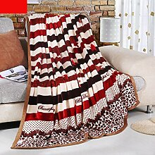 Wddwarmhome Warme Decke rot und weiß Streifen Muster Schlafzimmer Bettdecke Decke Freizeitdecke Reise Decke Polyester Material Wolldecke ( größe : 200*230cm )
