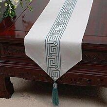 Wddwarmhome White Table Runner Pastoral Fashion Einfache Tischdecke Couchtisch Tuch Bett Fahne Schrank Flagge Tisch Matte (nur Verkauf Tischläufer) 33 * 300cm