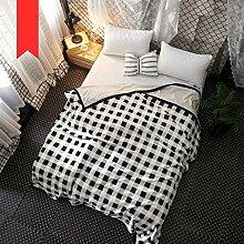 Wddwarmhome Winter Dicke Warme Decke Schwarz-Weiß-Gittermuster Weiche Polyester-Material Decke Wohnzimmer Sofa Decke Nap Decke Wolldecke ( größe : 200*230cm )