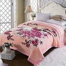 Wddwarmhome Winter Doppel Warm Decke Pflanze Blumenmuster Polyester Material Hochzeit Liefert Größe: 200 * 230 cm Wolldecke ( Farbe : Pink )