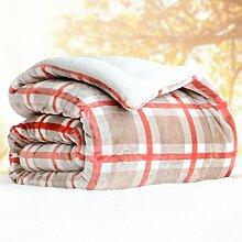 Wddwarmhome Winter Doppel Warme Decke Polyester Material Streifen Muster Schlafzimmer Bettdecke Wohnzimmer Freizeit Decken Wolldecke ( Farbe : Pink , größe : 180*200cm )