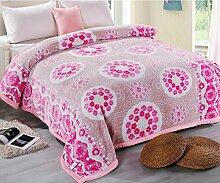 Wddwarmhome Winter-doppelte warme Decke rosa Pflanzen Blumen Schlafzimmer Bett Decke Polyester Material Größe: 200 * 230cm Wolldecke